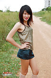 Hung ladyboy exposing her body outdoors