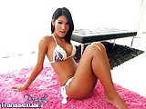 Pink bed for wanking ladyboy