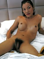 Beautiful asian tgirl touch her boobies with lust