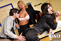 Trio fucking in the office