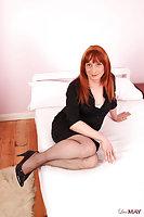 Mature Slut In Stockings Jerks Dick On Bed