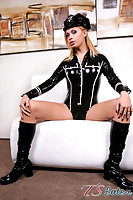 Tgirl with long legs in latex