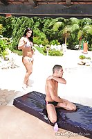 Busty Shemale In Bikini Gets Sucked Outdoor By Pool
