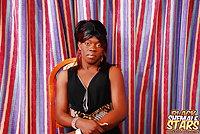 Ebony Tranny Shows Hairy Pecker