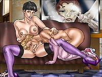 Busty Tranny Gets Blowjob In Stockings Cartoon