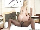 Skilful black fucker for burning blond Tgirl
