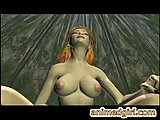 3D hentai slut with juicy boobs rides nasty shemale