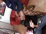 Uniformed Tgirl in hot threesome