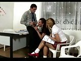 Passionate threesome in a classroom