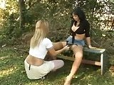 Chick rides Tgirls cock outdoors