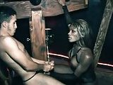 Black tranny plays with white slave