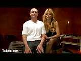 Blonde busty tranny fucks guy while he is cumming