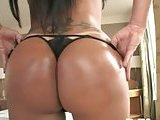 Shocking brunette shemale jerking off