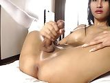 Shemale ladyboy left alone with her cock to stroke