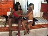 Latina chick gets black shemales dong into her pussy