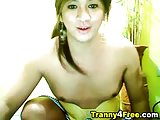 Horny slut tranny posing on webcam