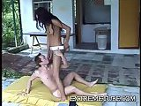 Brunette tranny fucks dude ass hole deep