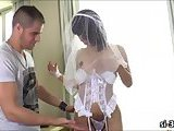 Yummy shemale bride Gabriella Andrade gets anal ripped wide open