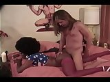 Interracial sex with a vintage tranny