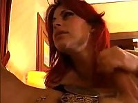 Busty ladyboy in a threesome act