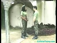 Black TS soldier drills a dude