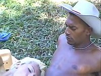 Blond shemale fucked by two black guys