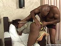 Bound Ebony Shemale Toyed And Fucked