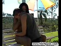 Outdoor interracial sucking session
