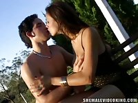 Tranny And Stud In Outside Anal Poking