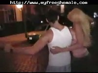 Sexy blonde shemale gets a great facial