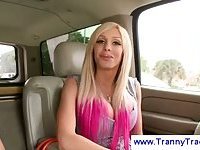 Blonde tranny flirts with her new fucker