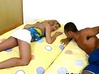 Sexy latina blonde banged in bed