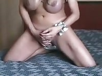 Busty pretty TS jerking off her cock