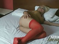 Hot blonde wanks