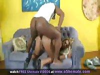 Blonde Tranny Taking Big Black Dick