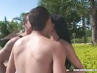 Poolside threesome with a sweet shemale