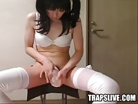 Cute japanese tgirl masturbates in white lingerie