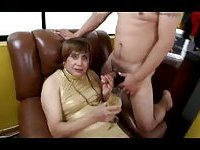 Chubby Brunette Fucked In Gang Bang
