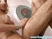 Blonde tranny shemale giving rimjob