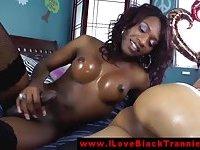Ebony shemale tranny getting pumped