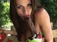 Hot shemales eats dildos outdoors