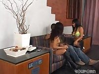 Threesome act with lustful shemales
