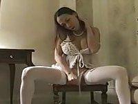 Tranny in white tempting solo