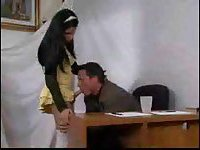 Brunette tranny drills a guy on a table