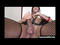 Jo Garcia stroking her big tranny cock