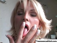 Gorgeous Latina tgirl gets cock sucked