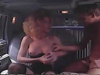Car sex with mature tranny