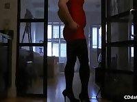 Transvestite pantyhose tease