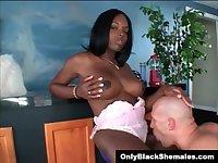 Stunning black Tgirl Destiny gets sucked