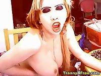 Big Tits Tranny Jerking her Cock